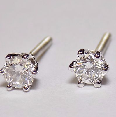 18ct White Gold Natural Round Diamond Stud Earrings 0.50ct Screw Backs