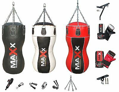 Maxx Boxing Heavy Filled Punch Bag Angle Body Upper Cut MMA Gloves Muay Thai UFC