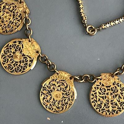 Antique Georgian Victorian English Gold Gilt Filigree Face Watch Cock Necklace