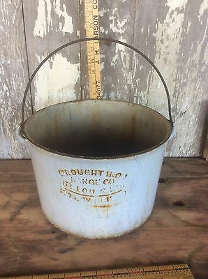 Bucket , Wrought Iron Range Co. St.Louis Mo. 1889 , Antique Embossed Lettering