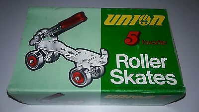 Rare Vintage 1950's-60's Union #5 Roller Skates Strap On Nos In Box Size 3 & Up