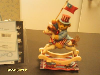 Cherished Teddies .. SAMUEL - Hooray for the U.S.A.  rocking horse  2002
