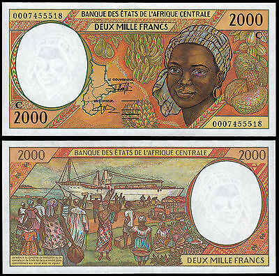 CENTRAL AFRICAN STATES 2000 FRANCS (P103Cg) 2000 CONGO UNC