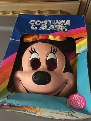 Vintage 80s Ben Cooper Walt Disney Halloween Costume Mask Minnie Mouse