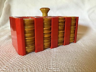 Vintage Bakelite Poker Chips with Caddy