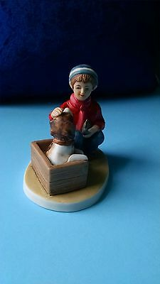 """Norman Rockwell Miniature Figurine """"A Boy Meets His Dog"""" 1999"""