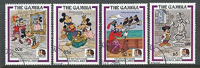 Gambia 1985 Birth Bicentenaries of Grimm Brothers, Disney set of 4 used
