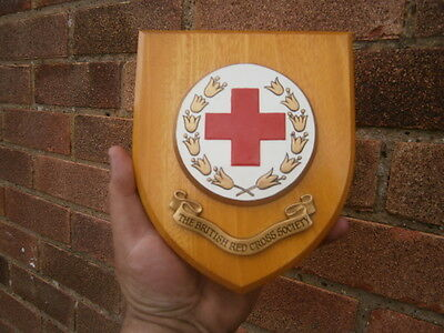 Wood Wall Plaque British  Red Cross Society shield crest