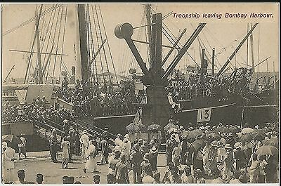 Troopship leaving Bombay and Sikh WWI troops (Tuck's ) on three mint postcards