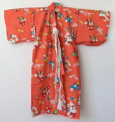 Authentic Japanese orange kimono for little girls, Japan import, good c. (I1543)