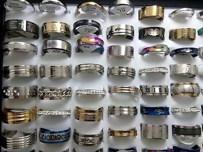 50 X mix desgin Women men's  Stainless steel rings  jewelry wholesale lots