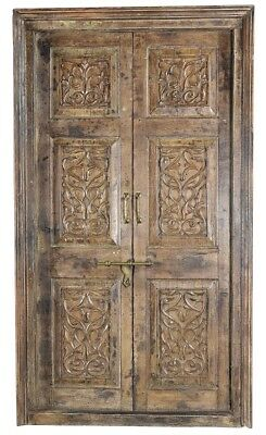 "53"" L Caroline antiqued door with frame set hand carved details metal insert"