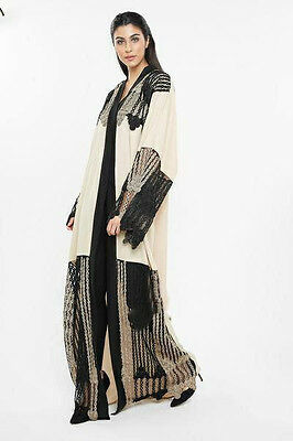 New Dubai Open Kimono Abaya Style Farasha Kaftan Lace Jilbab Maxi Dress 56 Slim