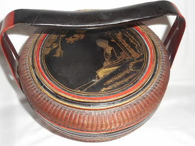Chinese Wedding Basket Cinnabar Red & Black Lacquer Geisha Garden Split Handle
