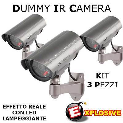 Kit 3 Telecamere Dummy Finte Tvcc Con Led Video Sorveglianza Di Sicurezza Camera