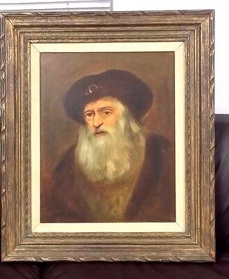 """VINTAGE OIL ON CANVAS PORTRAIT OLD MAN WITH BEARD 16"""" X 20"""" SIGNED Fr. SCHUTXX"""