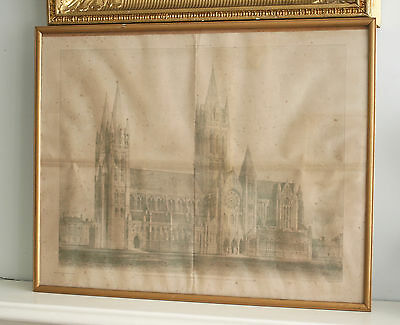 A Rare Edition Print, 'The Builder' 1892, Truro Cathedral Elevation & Floor Plan