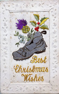 December 1918 End World War One Silk Post Card 'best Christmas Wishes' Old Boot