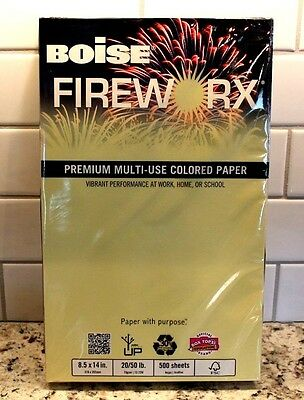 Boise FIREWORX Colored COPY PAPER LEGAL Size Crackling CANARY 20lb REAM 8.5 x 14