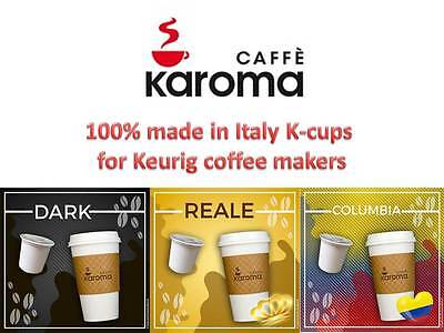 120 Keurig K-cups Compatible! 3 Flavors Made in Italy...Caffè Karoma