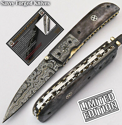 Sfk Cutlery Hand Made Damascus Pocket Folding Knife| Liner Lock | Fo-2031