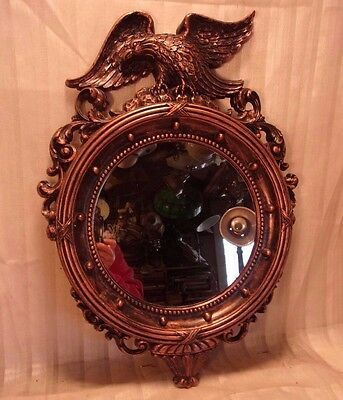 Vintage colonial EAGLE cast resin mirror  21x15  mirror 9 1/4 round