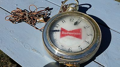 1960's Double Sided Budweiser Lighted Clock Sign Synchron Pocket Watch Design