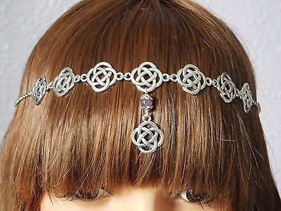 Pagan Wicca Celtic Amethyst Circlet Headdress Necklace Head chain