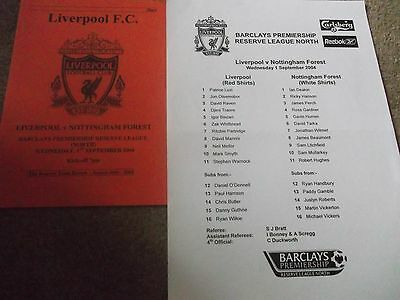 Liverpool V Nottingham Forest Reserves Programme / Teamsheet 1St September 2004