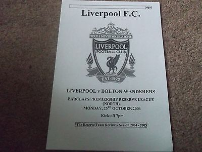 Liverpool V Bolton Wanderers Reserves 25Th October 2004