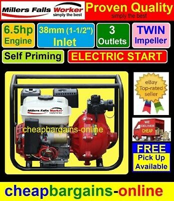 ELECTRIC START 6.5hp PETROL FIRE FIGHTING PUMP TWIN IMPELLER PORTABLE WATER PUMP