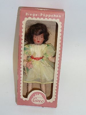 """Vintage 1950-60's Caco Doll House Doll 1:12 Scale w/Box & Tag, 3.5"""" Girl in Yell"""