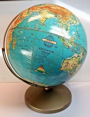 Vintage 1960's Weber Costello 12in Physical Contour Relief Globe