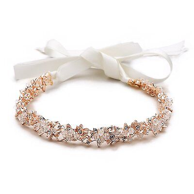 Mariell Blush Rose Gold Crystal Cluster Bridal Wedding Headband Hair Vine with