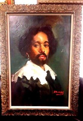 """Vintage Fine Quality Portrait By Tomas 24"""" X 36 Young Spanish Man  Oil On Canvas"""