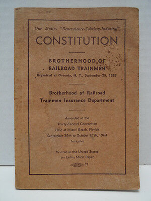 1964 Constitution of Brotherhood Railroad Trainmen Union Book