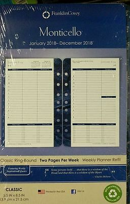 Franklin Covey Classic Monticello Dated Two-P/P Week Planner Refill, 2018
