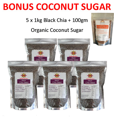 Chia Seeds Black 5kg (5 x 1kg bags) - Fresh!!  Best before March 2022