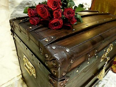 Rare Vintage Domed Trunk Chest Wax Polished Wood Leather & Brass Fittings