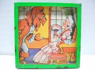 Old Beauty and The Beast Dexterity Puzzle Tin Case w/ Glass Top Made in England