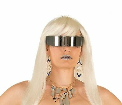 Mirror Wrap Glasses Robocop Cyclops Futuristic Future Star Trek Rave Silver