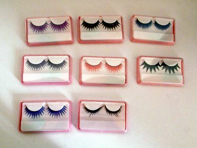 Lote 8 pestañas postizas False eyelashes negro colores beauty + Regalo