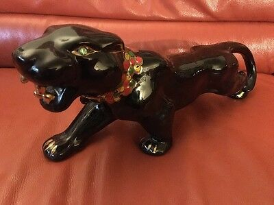Ceramic Vintage Black Panther 17 Inches Long