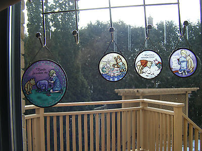 Disney Winnie the Pooh Tigger Piglet Eore Sun Catcher Stain GLass SET OF FOUR