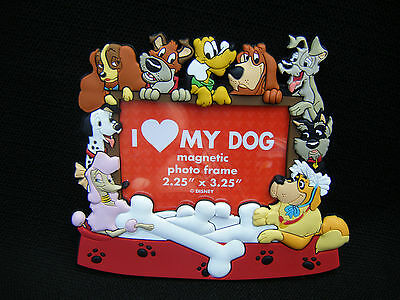 "Disney I Love My Dog Magnetic Photo Frame Lady Tramp Napoleon Pluto Fits 2""x3"""