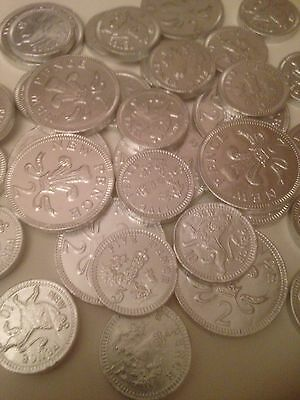 50 Silver  Foiled White Chocolate Coins /wedding favours/party Bags / Sweets