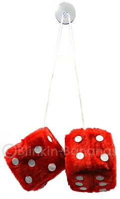 Big Large 8Cm Red Fuzzy Furry Fur Fury Fluffy Car Dice Hang From Mirror 19B