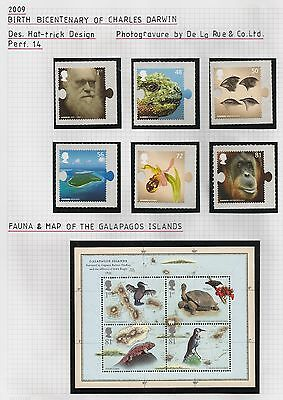 Darwin on stamps: 2009 mint set and MS, copies on cover to America, 1982 set etc