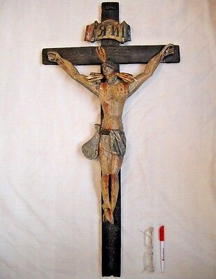 1700's Spanish Colonial Baroque wood carved Jesus Christ Crucifix Corpus Santos