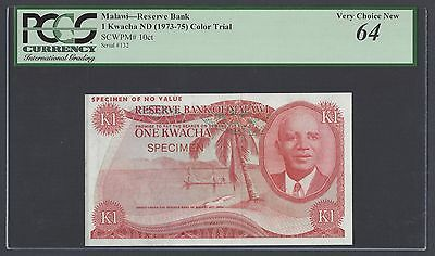 Malawi One Kwacha ND(1973-75) P10ct  Color Trial Uncirculated